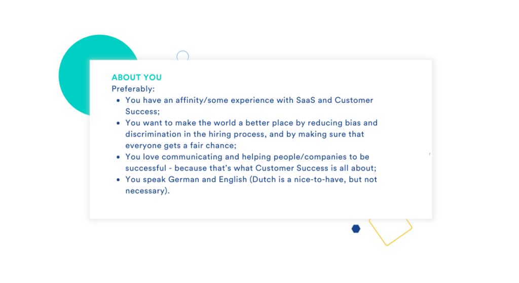 This visual shows an example of essential and desirable criteria within a job description used on our own career site.