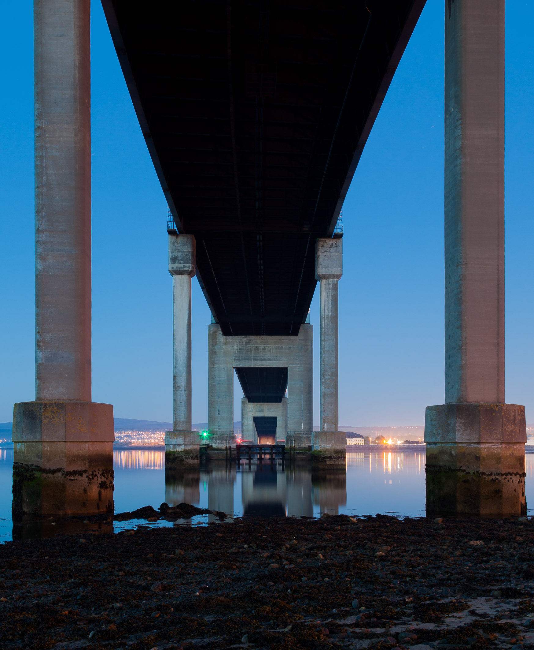Underneath the Kessock Bridge, Inverness, Scotland.