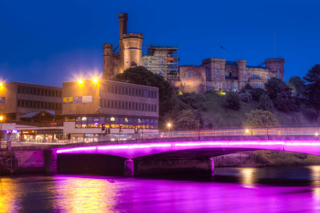 Young Street Bridge and Inverness Castle, Scotland