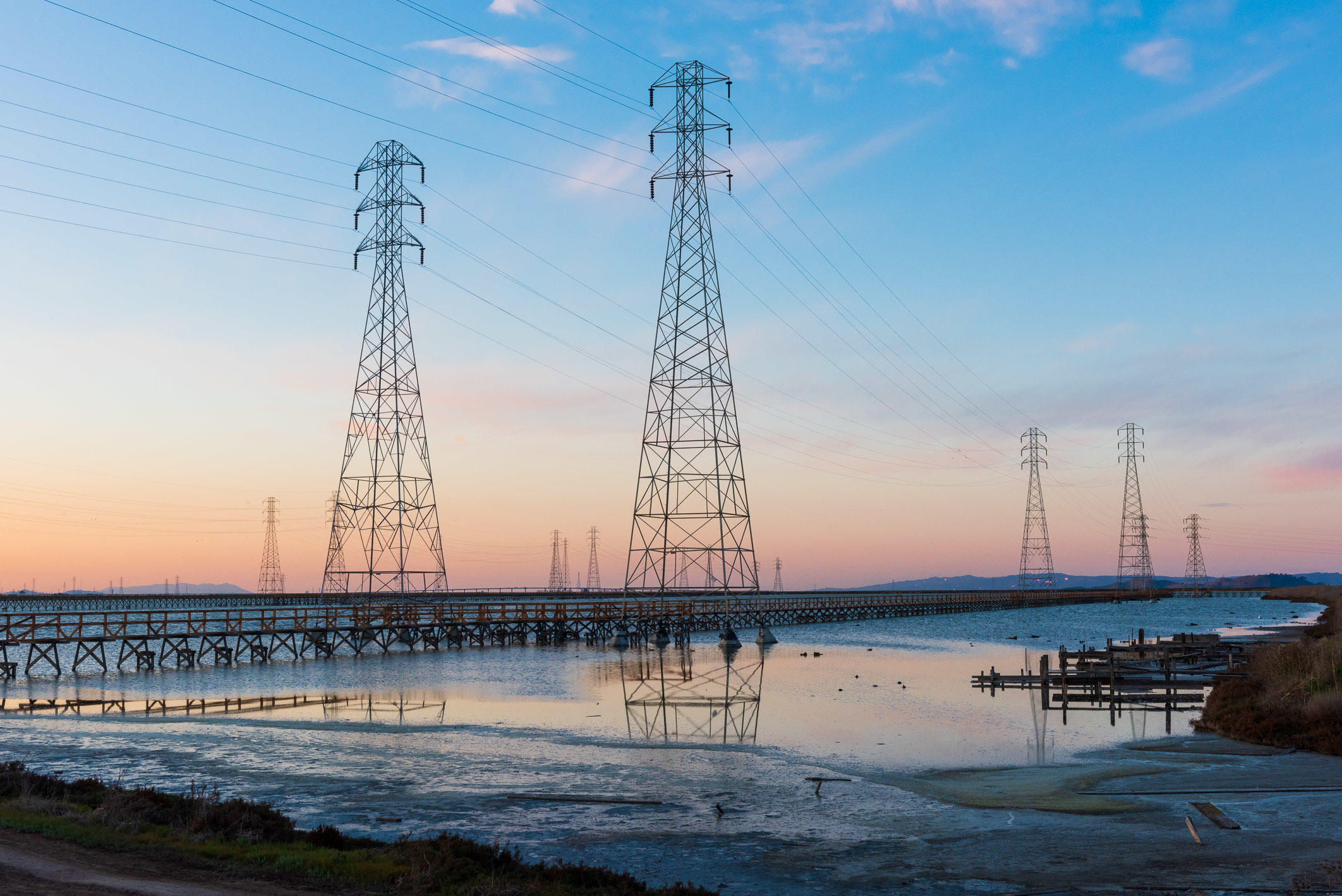 Power Lines Over the Water, Mountain View, California