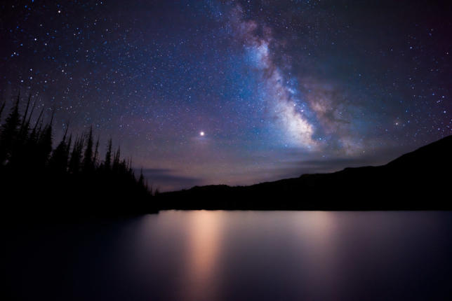Mars and the Milky Way, Quartz Lake, Colorado