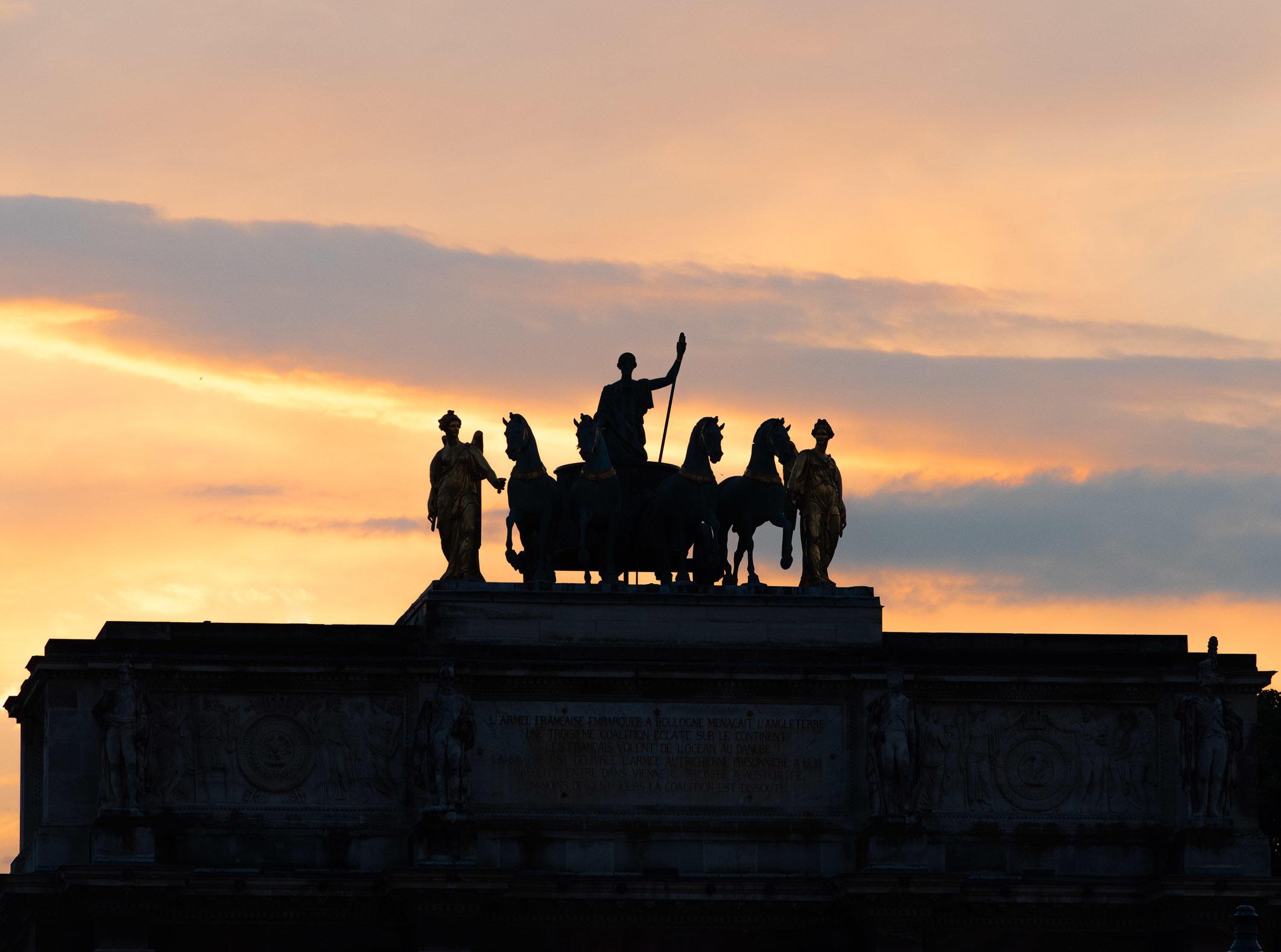 Statue on the Arc de Triomphe du Carrousel, Paris, France