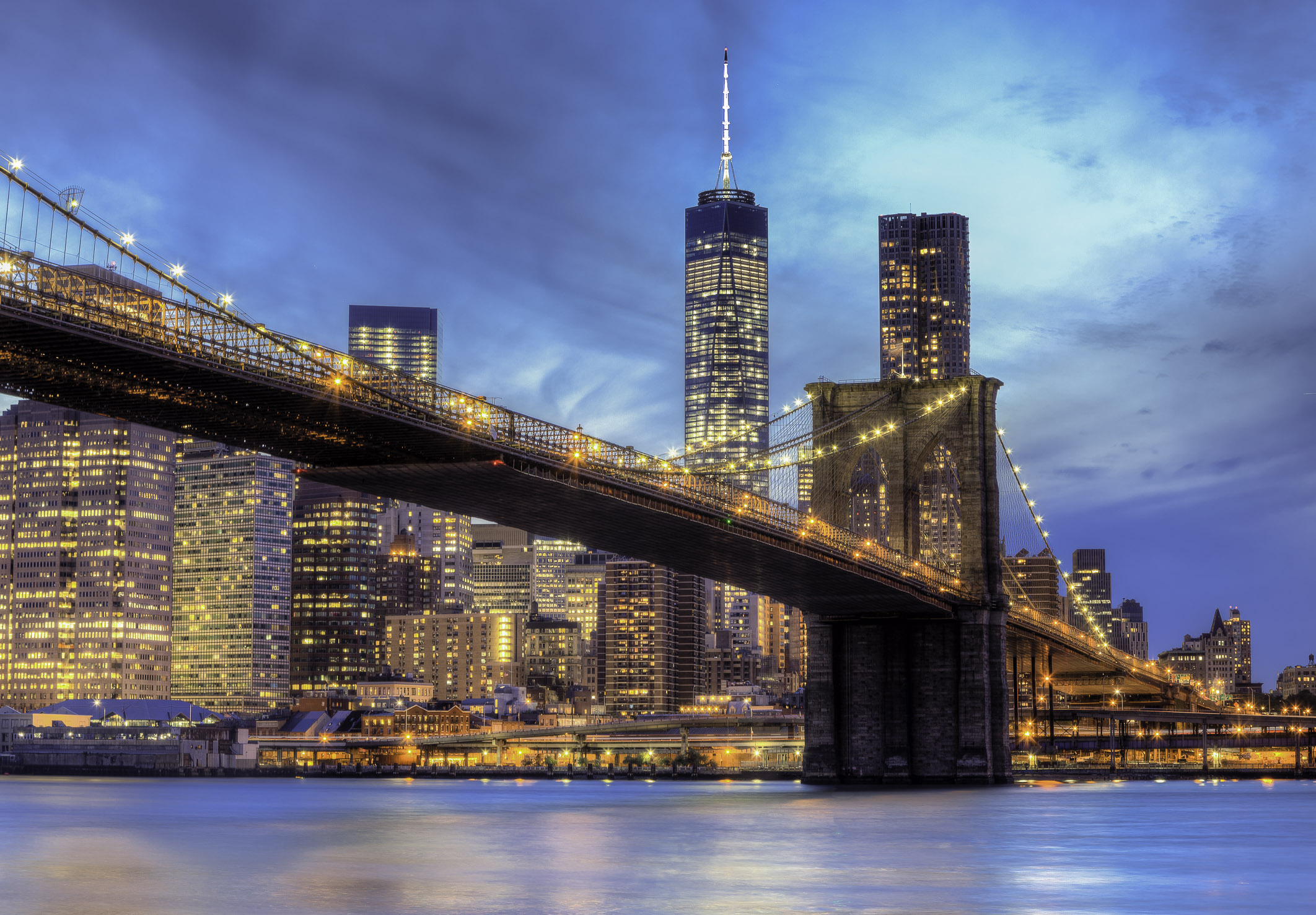 The Brooklyn Bridge and Freedom Tower, New York City