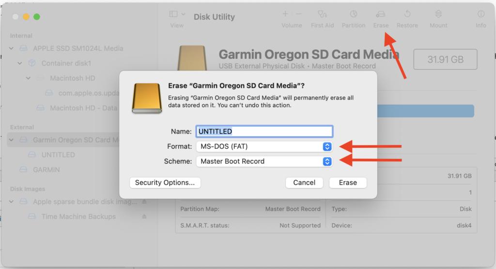 Disk Utility erase settings
