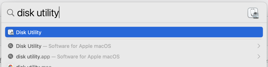 Search for Disk Utility