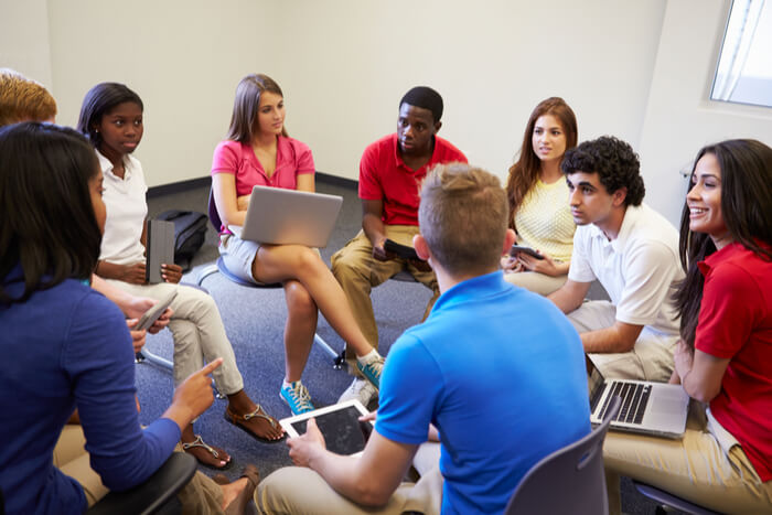 High school students having a group discussion
