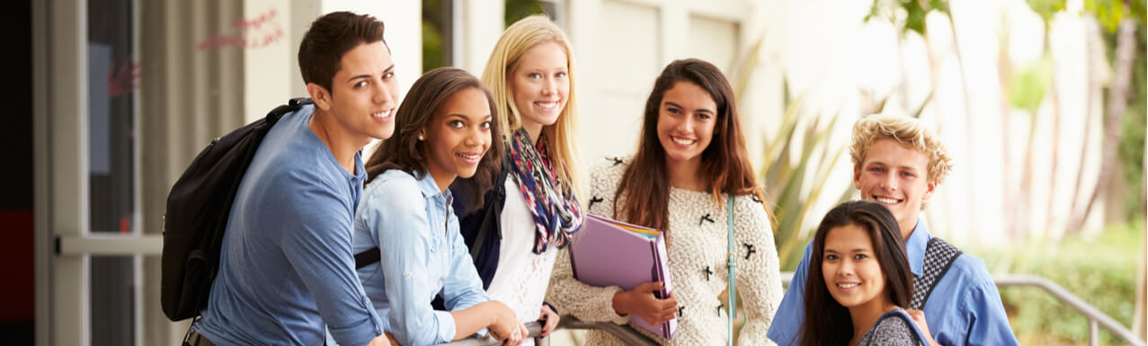 High School Students Standing Outside Building