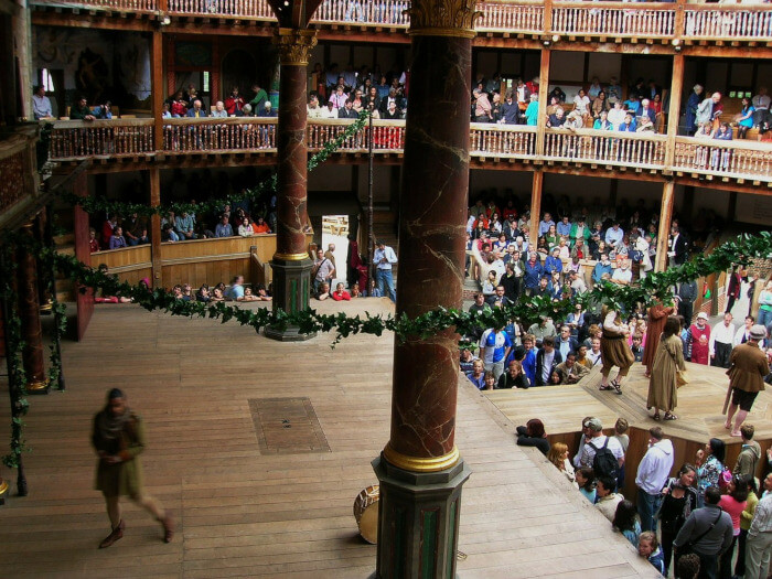 Classical Shakespeare theater croud