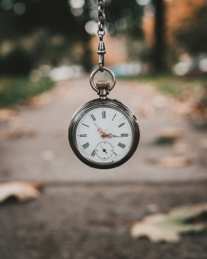 pocket watch with a park behind