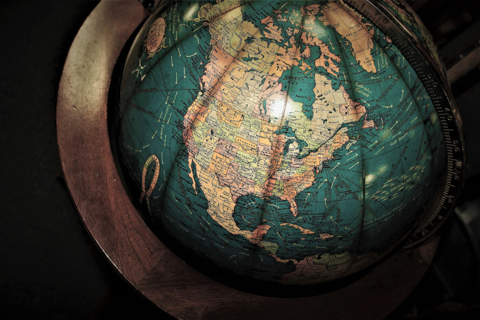 Old fashioned world globe