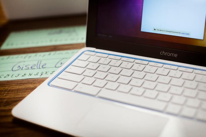 Chrombook on a desk