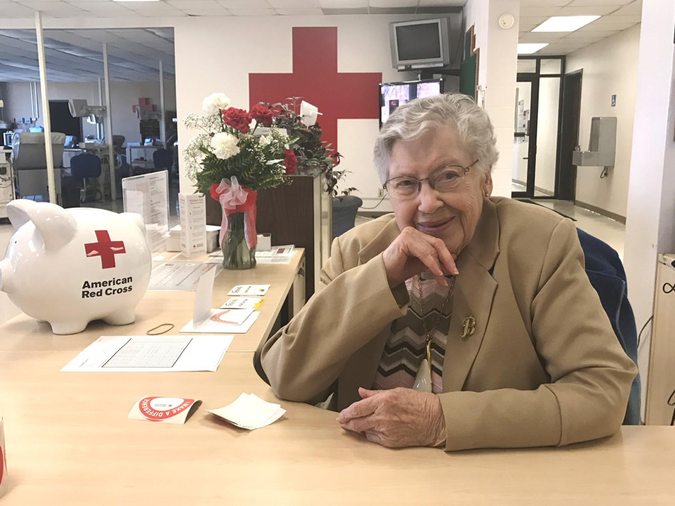 Blanche volunteering at the American Red Cross