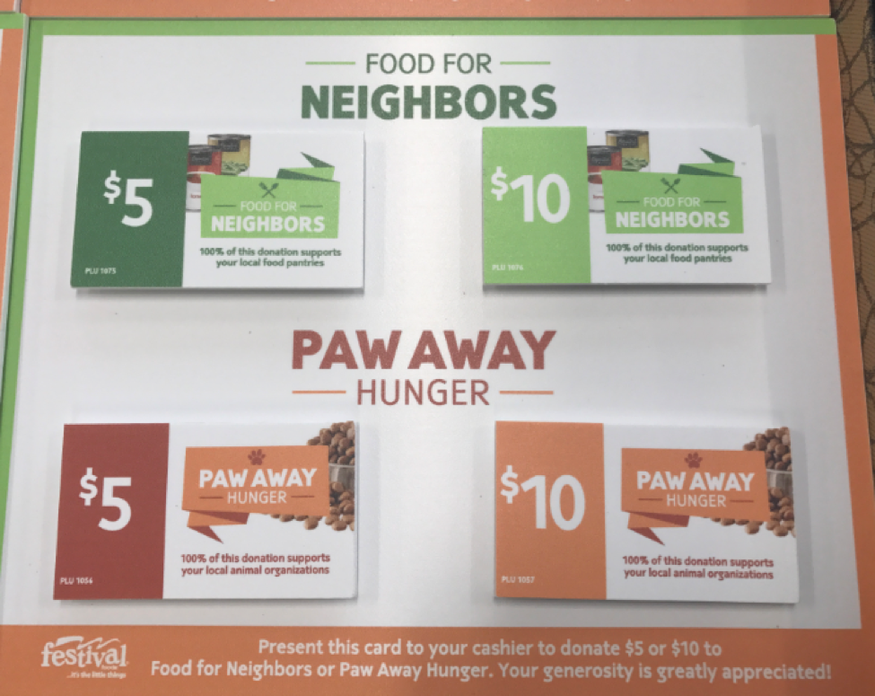 donation cards for Paw Away Hunger and Food for Neighbors