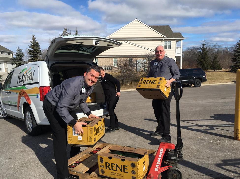 loading Festival Foods van for Senior Fresh Produce Initiative