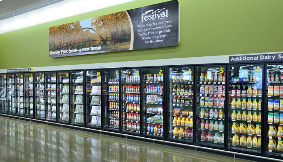 dairy and juice aisle at Festival Foods