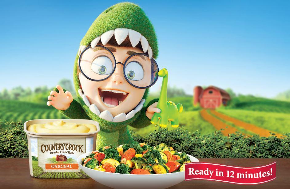 Cartoon kid for sauteed vegetables