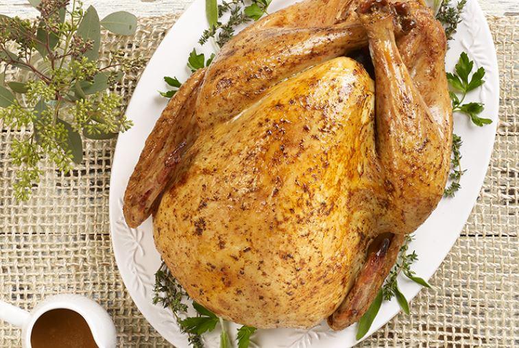Oven ready turkey on table