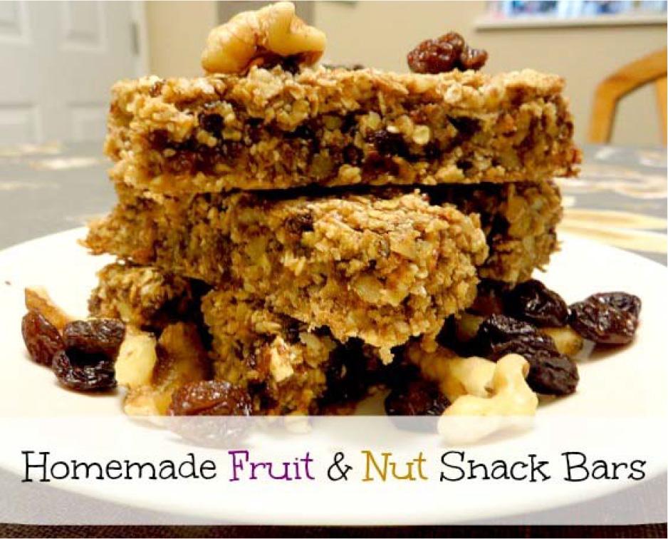 homemade fruit & nut snack bar