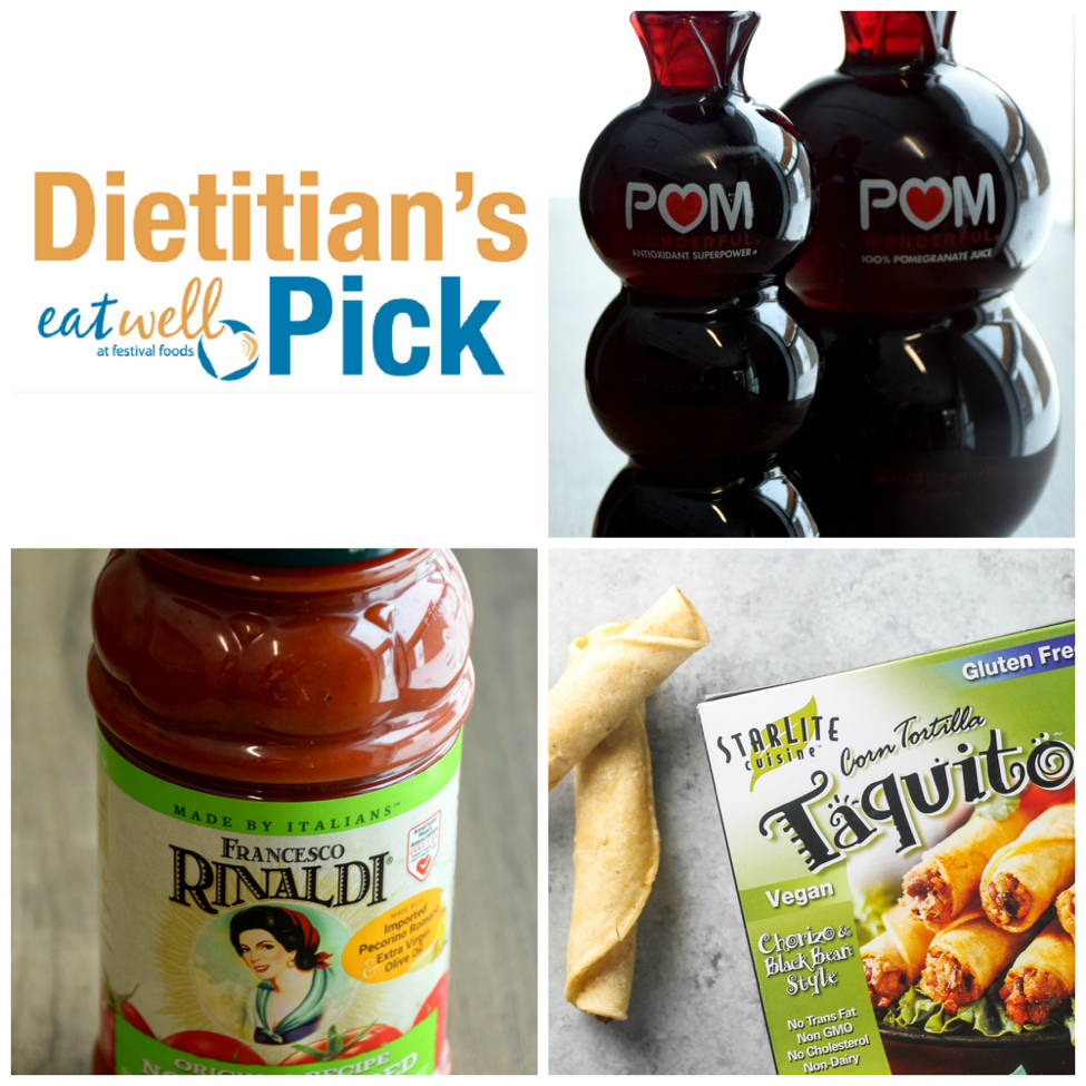 Dietitian's Eat Well Picks: POM® Wonderful 100% Pomegranate Juice, Francesco Rinaldi® No Salt Added Original Recipe Pasta Sauce, StarLite Cuisine™ Vegan Chorizo & Black Bean-Style Taquitos