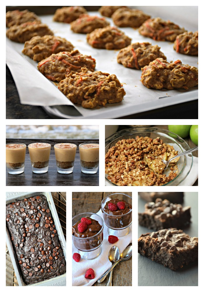 carrot cake oatmeal cookies, peanut butter black bean brownies, pudding, apple pecan crisp, cheesecake shooters