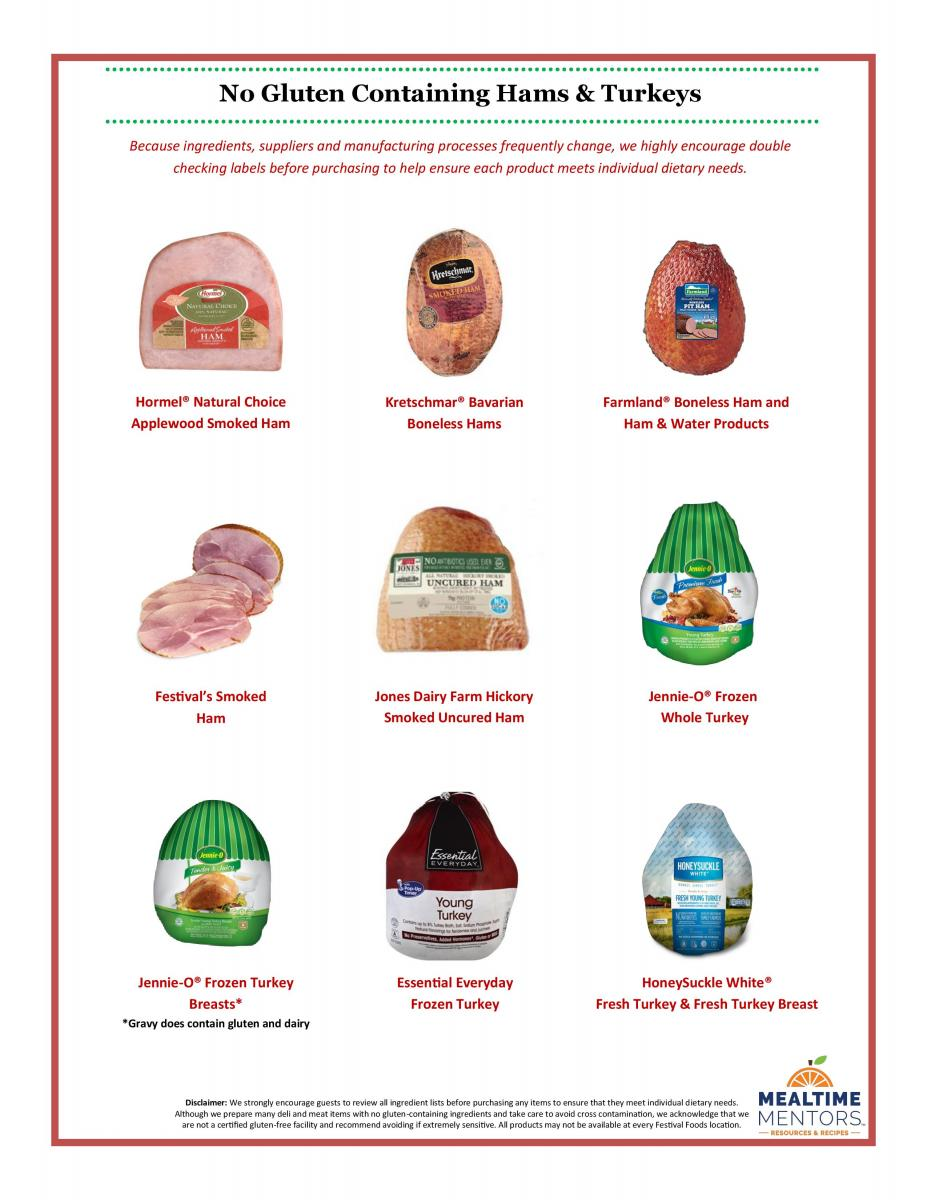 Gluten Free Ham and Turkey Options