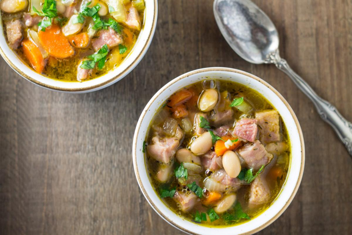 Bowls of leftover ham and bean soup