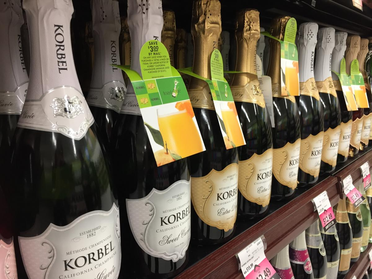 Sparkling drinks on the shelf