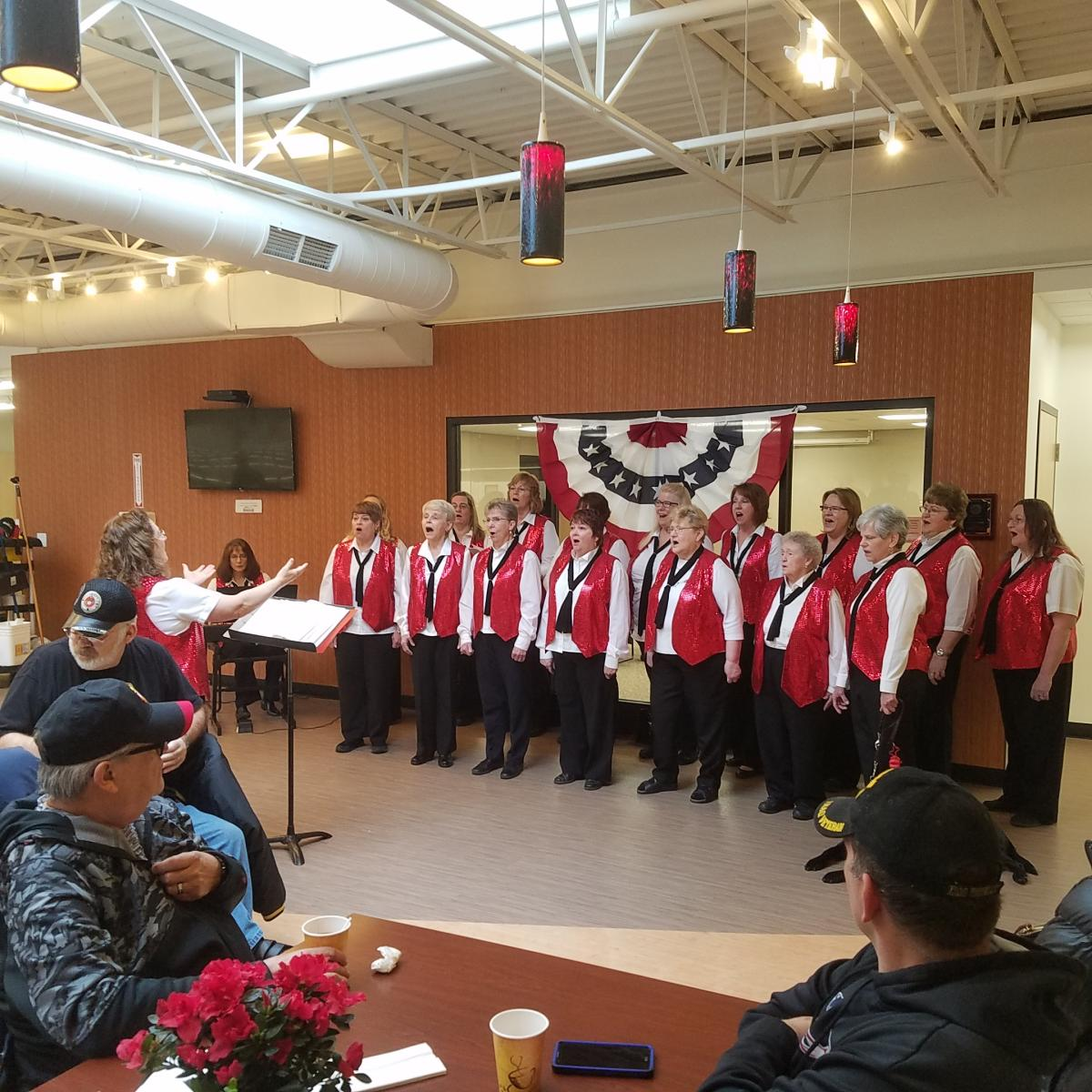 Patriotic singers at Festival Foods location on the north side of Green Bay