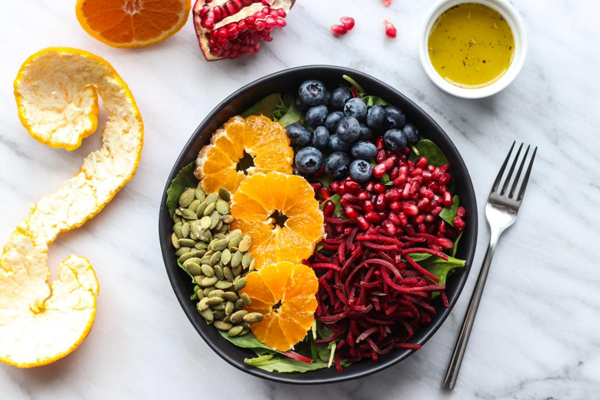 Overhead shot of Rainbow Salad with White Wine Vinaigrette