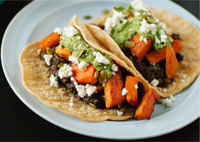 Sweet Potato & Black Bean Tacos with Avocado #festfoods