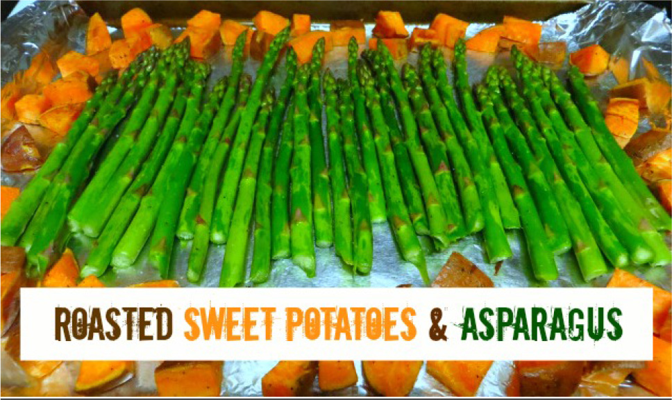 Roasted Asparagus and Sweet Potatoes with Salmon
