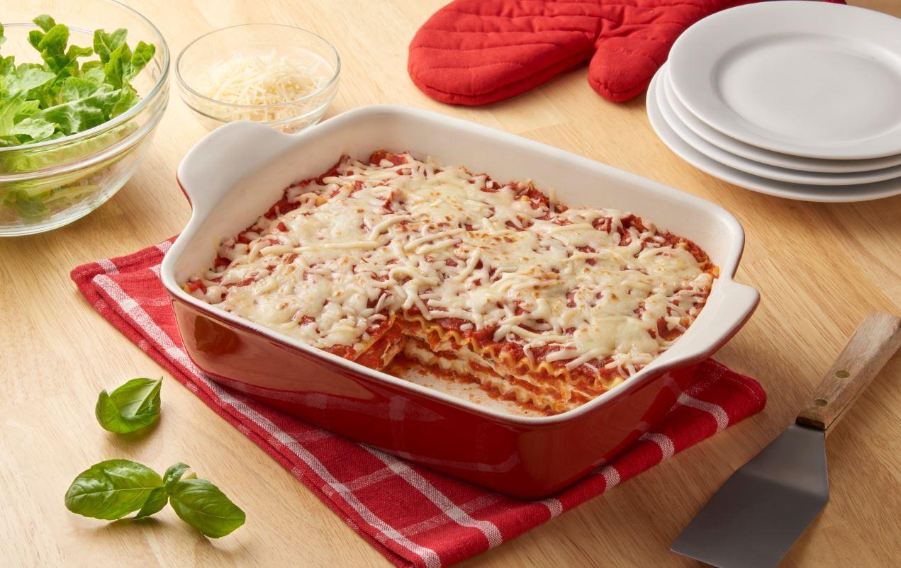 Lasagna on a table
