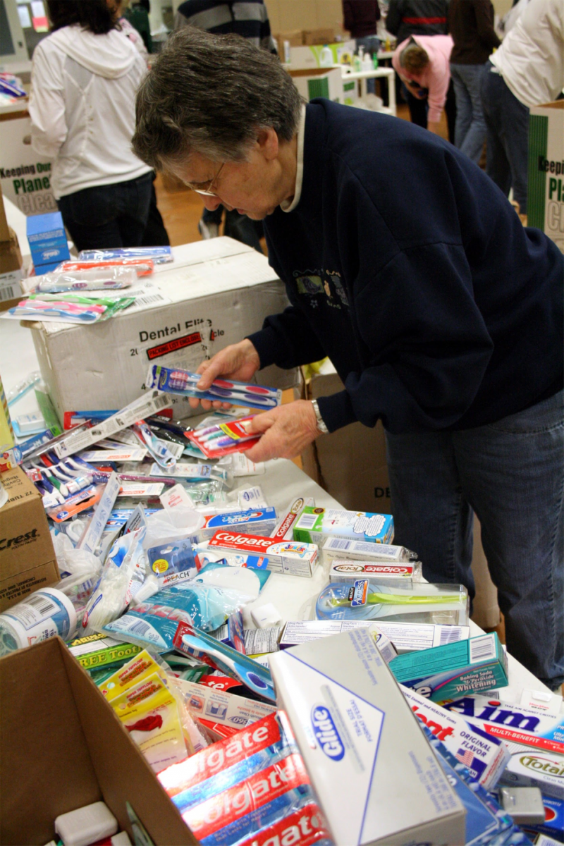 toothpaste, toothbrushes and toiletries for Help for the Homeless