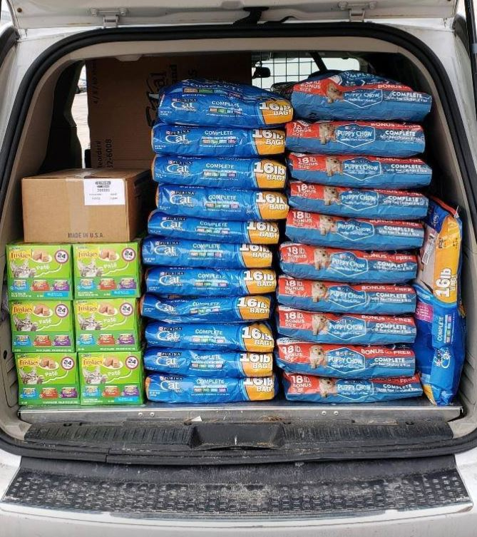 Dog food in a truck