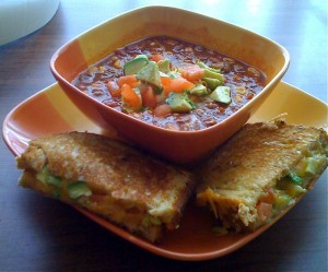 Mexican Grilled Cheese with Taco Soup