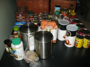 Table of non-perishable supplies for freezer cooking