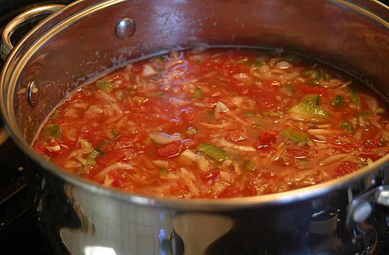 cooking homemade salsa