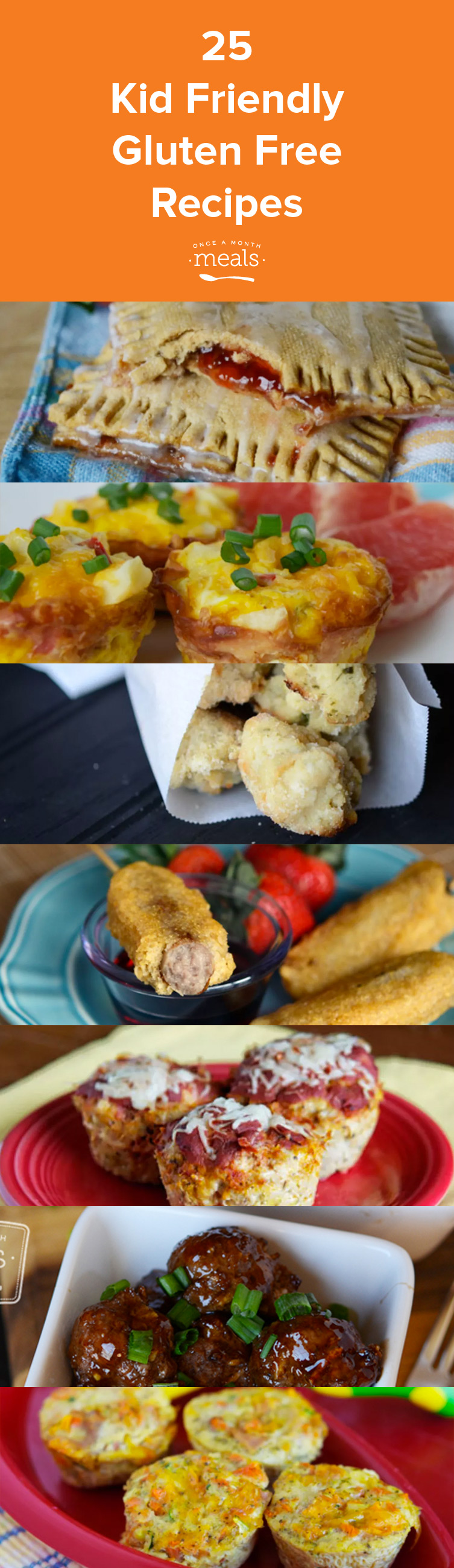 A variety of freezable, kid friendly gluten free recipes.