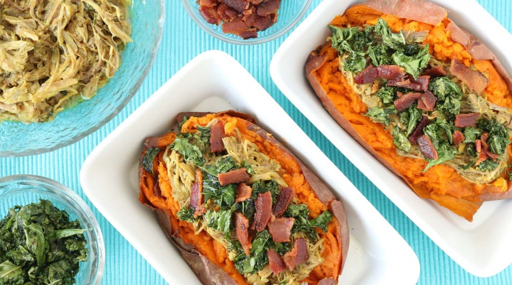50 Allergy Friendly Freezer Recipes - Pulled Pork Loaded Sweet Potatoes