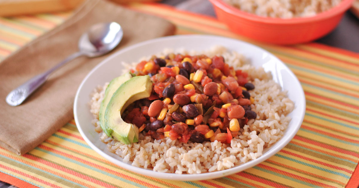 Instant Pot Veggie Taco Chili With Brown Rice Once A