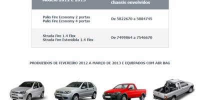 Fiat faz recall de 81,7 mil veículos por problema no Airbag