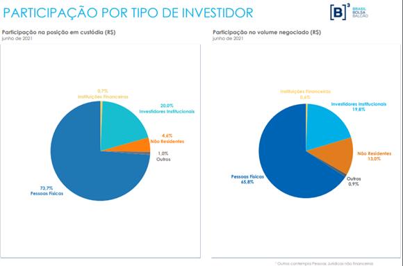 Participação por tipo de investidor. Foto: reprodução Boletim B3
