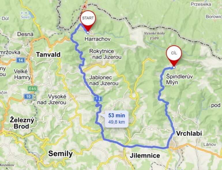 Trasa Harrachov - Špindlerův Mlýn