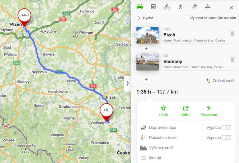 Plánovač trasy autem Mapy.cz