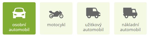 Kalkulačka havarijního pojištění - výběr typu vozidla