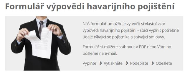 Formulář výpovědi havarijního pojištění
