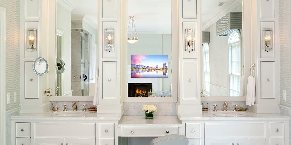 Séura Vanity Tv Mirrors, Bathroom Vanity Mirror With Built In Tv