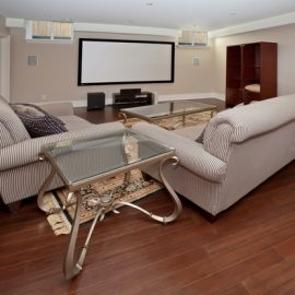 Basement home theatre in new luxury house