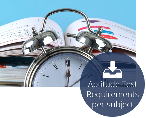 Aptitude test requirements per subject