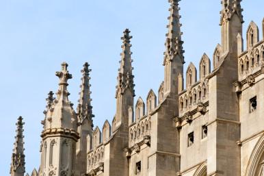 Spires of King's College Chapel, Cambridge.